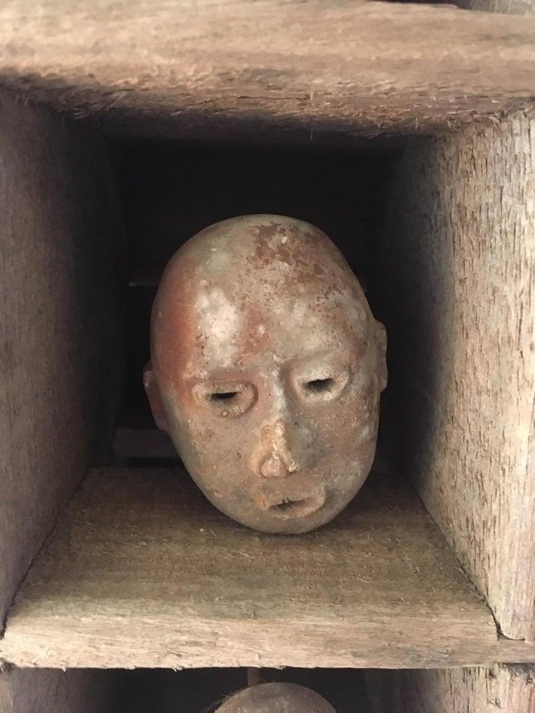Clay Folk Art Mask Shadowbox For Sale