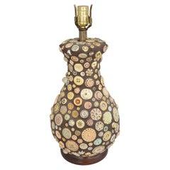 Folk Art Memory Table Lamp with Inset Ceramic Decoration