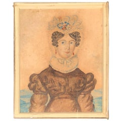 Folk Art Miniature Watercolor of Fancy Lady
