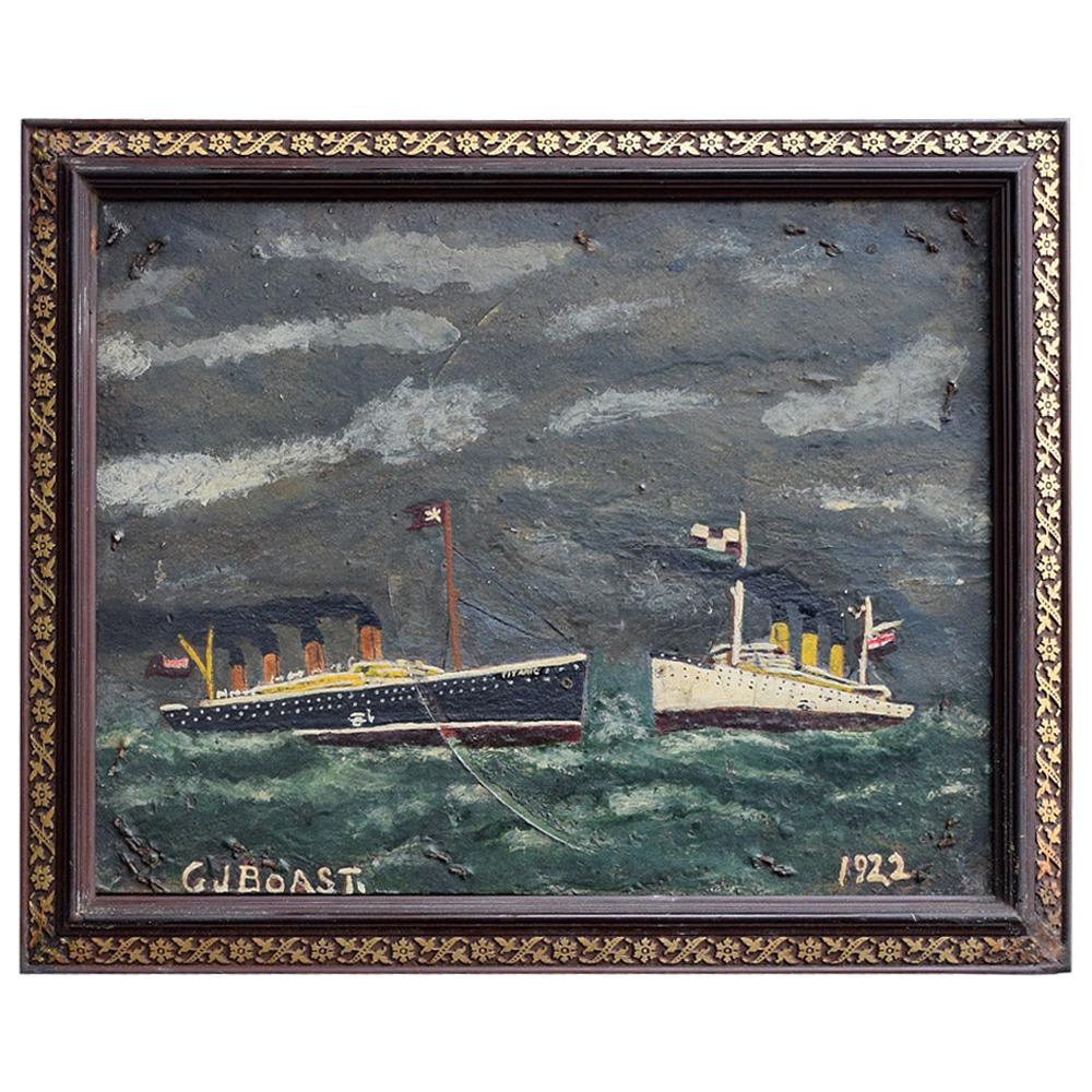 Folk Art Naïve Oil on Board Painting of the Titanic, circa 1922