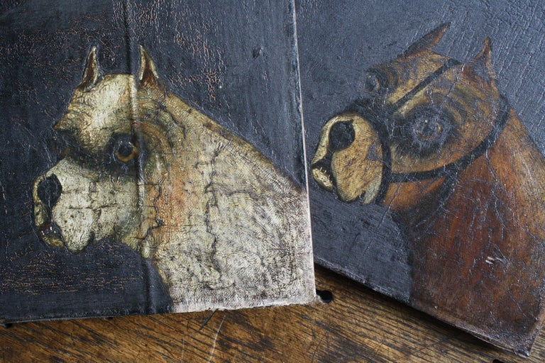 Folk Art Naive Pair of Early 19th Century Oil on Canvas Bull Dogs For Sale 5