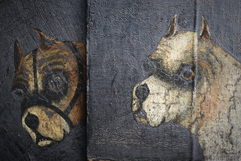 English Folk Art Naive Pair of Early 19th Century Oil on Canvas Bull Dogs For Sale