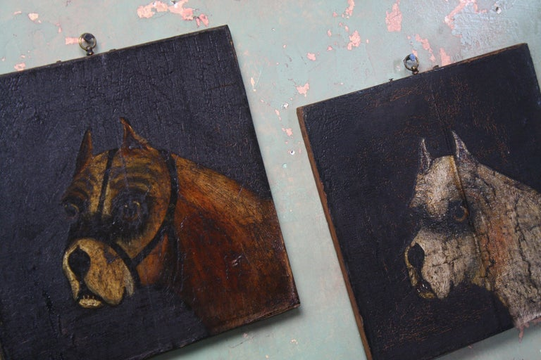 Folk Art Naive Pair of Early 19th Century Oil on Canvas Bull Dogs For Sale 2