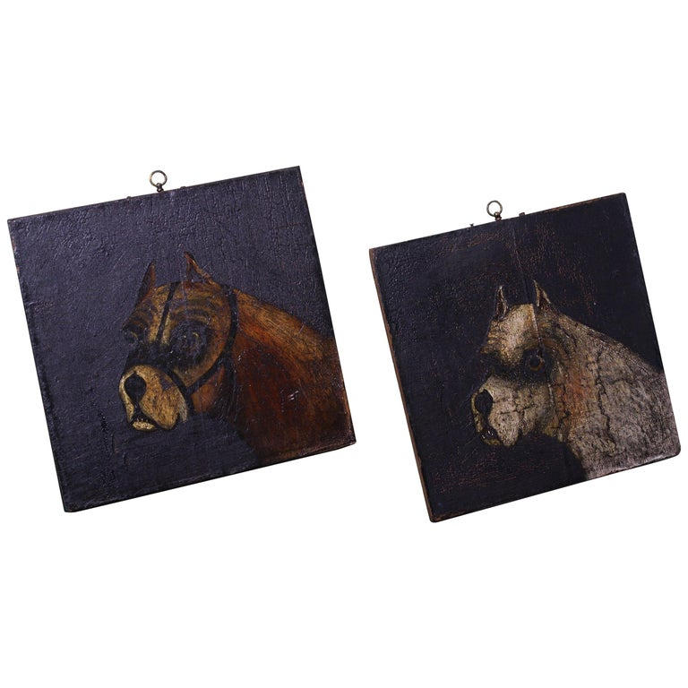 Folk Art Naive Pair of Early 19th Century Oil on Canvas Bull Dogs For Sale