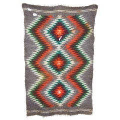 Folk Art Native American Wool Blanket Wall Art Bold Bright Graphics Vivid Color
