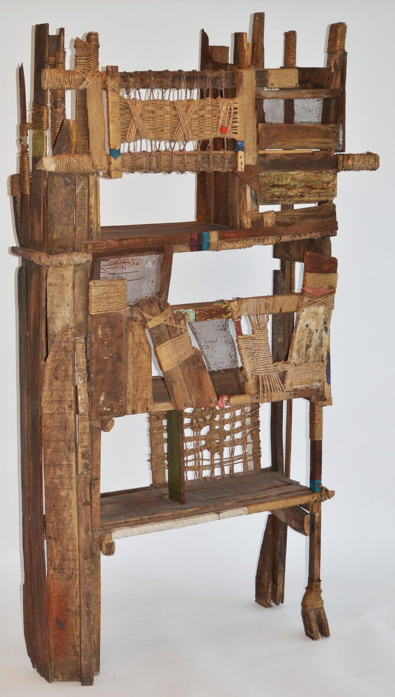 Folk Art screen, room divider or shelf reclaimed studio Indian modern, a one-off design by Calcutta, India artisan P. Mohanta. Purchased from Calcutta gallery. Composed of found objects, weathered and reclaimed wood, rope, metals and assorted