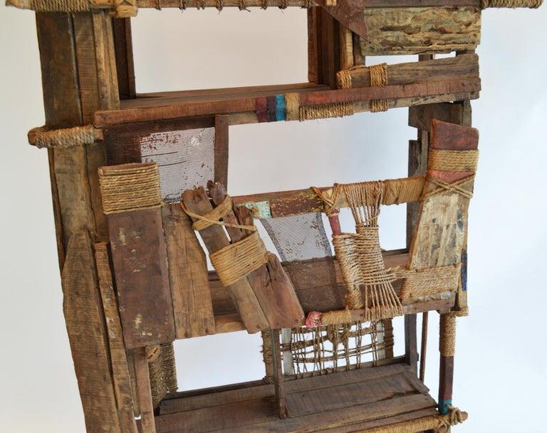 Folk Art Outsider Screen Room Divider Shelf Studio Indian Modern In Good Condition For Sale In Ft Lauderdale, FL