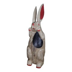 Folk Art Carved and Painted Wood Rabbit in White, Black and Red