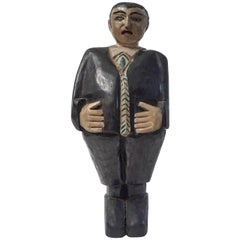 Folk Art Painted Man Wooden Sculpture