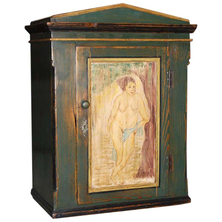 Folk Art Painted Wall Cabinet For Sale