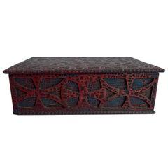 Folk Art Painted Wood Box Ornately Carved, Dated 1932