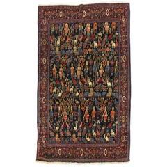 Human and Animal Persian Senneh Pictorial Rug