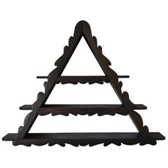 Folk Art Pyramid Wall Shelf in Stained Pine Wood, Denmark 1960s