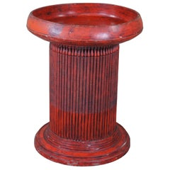 Folk Art Red Painted Round Fluted Ribbed Tray Top Pedestal End Table Base MCM
