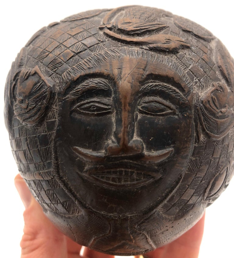 Folk Art Sailor Carved Coconut, circa 1800 In Good Condition For Sale In Boulder, CO