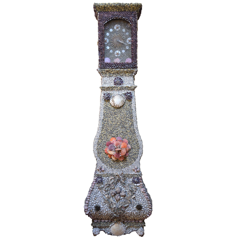 Folk Art Sailor-Made Vintage Seashell Long Case Clock