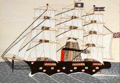 Folk Art Sailor's Woolwork or Woolie of a Ship, Circa 1875-95.
