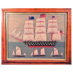 Folk Art Sailor's Woolwork With Trapunto Sails, Late 19th Century