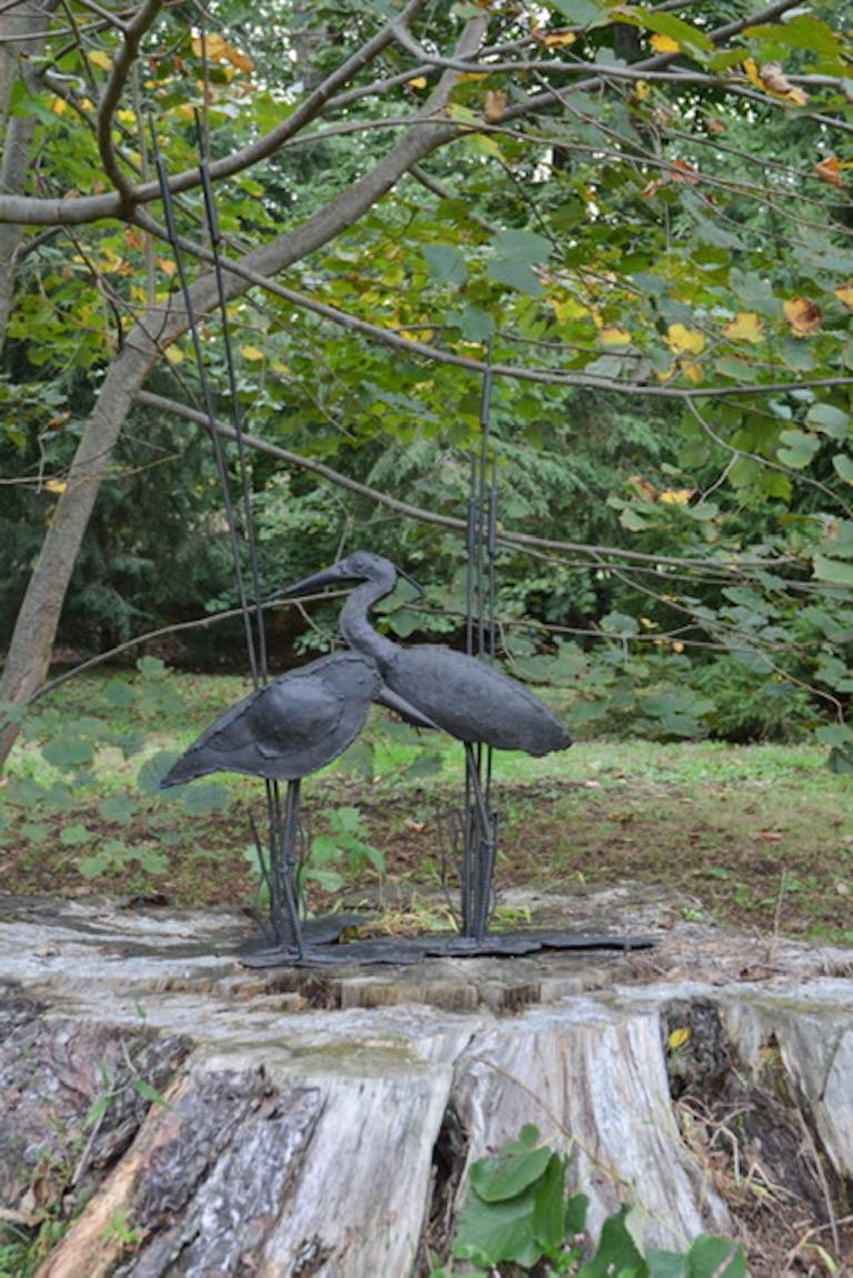 Metalwork Folk Art Sculpture of Two Shorebirds For Sale