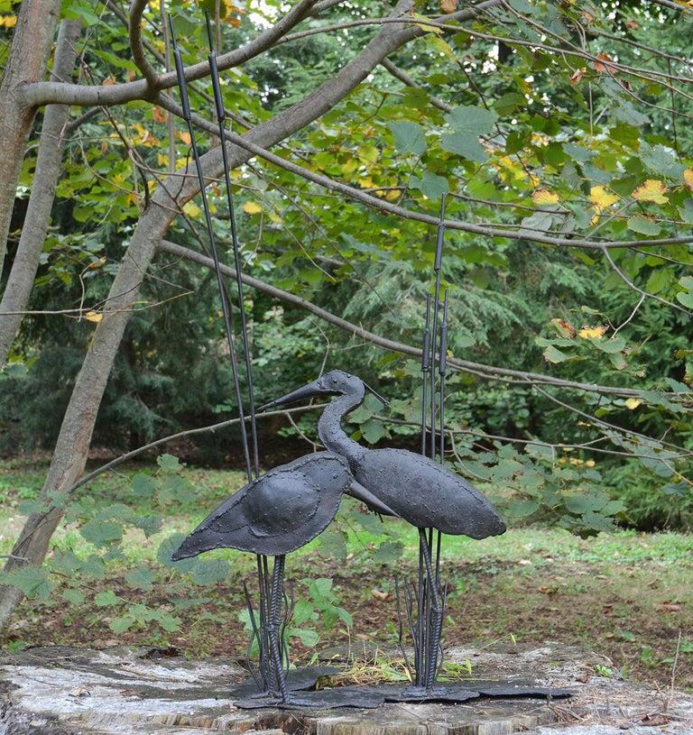 Iron Folk Art Sculpture of Two Shorebirds For Sale