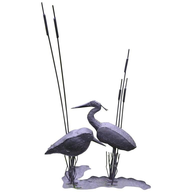 Folk Art Sculpture of Two Shorebirds For Sale