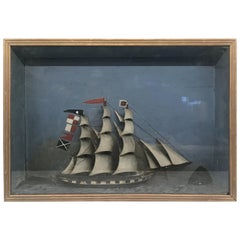 Folk Art Shadowbox Ship Diorama of a Three Masted Schooner