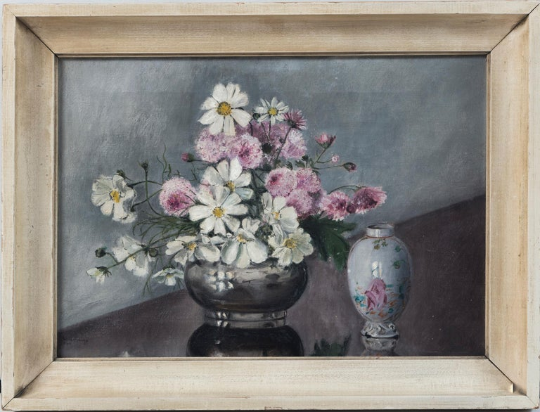 Folk Art Still Life, 'Flowers and Chinese Export Porcelain', early 20th century. Oil on canvas with original lacquered frame. A charming painting of cut flowers with antique Chinese export porcelain. Signed lower left. Professionally cleaned.