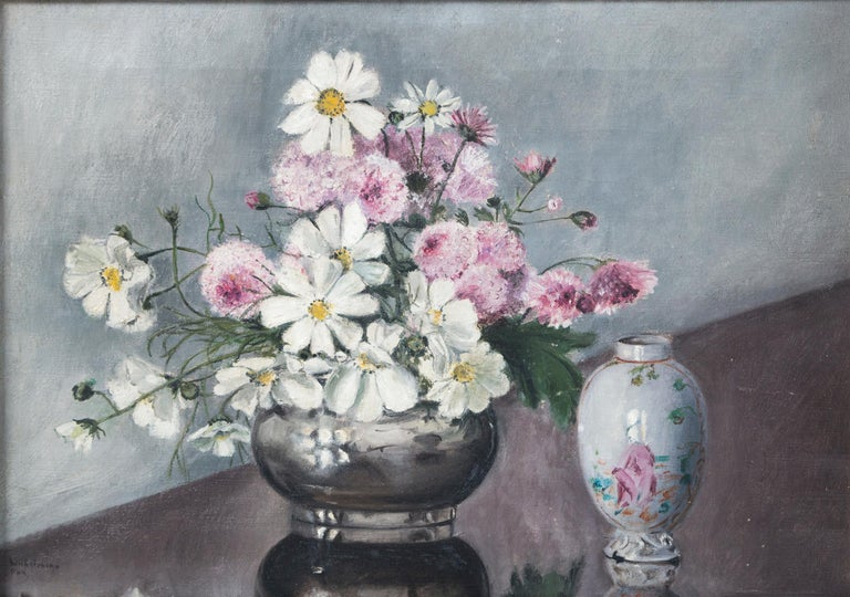 Folk Art Still Life, 'Flowers and Chinese Export Porcelain', Early 20th Century In Good Condition For Sale In Chappaqua, NY