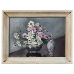 Folk Art Still Life, 'Flowers and Chinese Export Porcelain', Early 20th Century