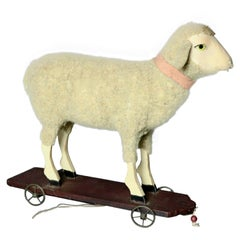 Folk Art Style Child's Sheep Rolling Pull Toy, 20th Century