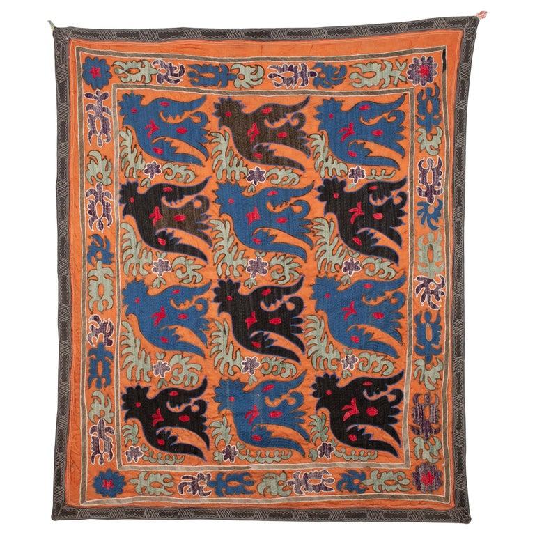 Folk Art Suzani with Mythological Birds from Uzbekistan, Mi-20th Century
