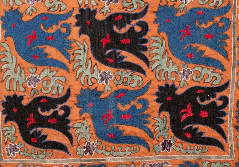 Embroidered Folk Art Suzani with Mythological Birds from Uzbekistan, Mi-20th Century