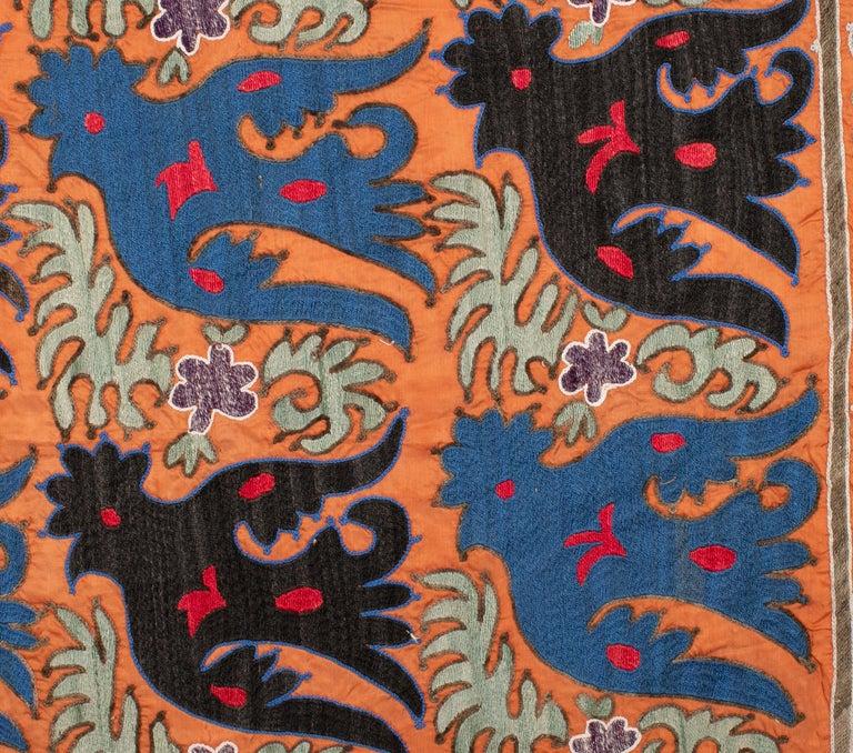 Cotton Folk Art Suzani with Mythological Birds from Uzbekistan, Mi-20th Century
