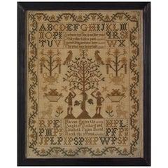 Folk Art Textile Sampler, circa 1830, by Harriet Pellen