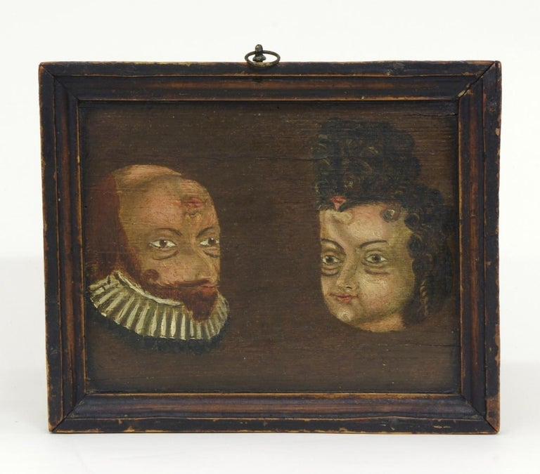 Spanish Folk Art Trompe l'oeil Double Portrait, circa 1780-1790 For Sale