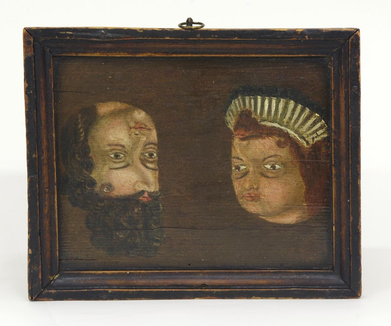 Folk Art Trompe l'oeil Double Portrait, circa 1780-1790 In Good Condition For Sale In St. Louis, MO