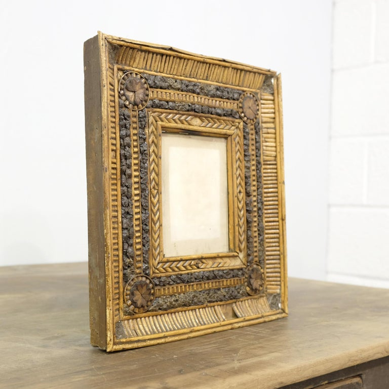 French Folk Art Twig and Bark Applied Decorative Picture Frame, 19th Century For Sale