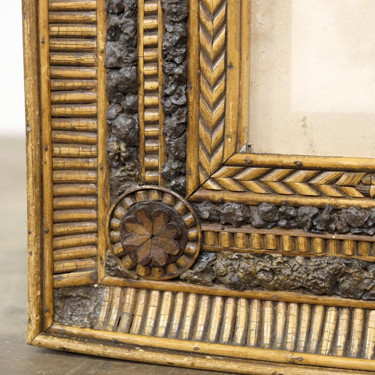 Hand-Crafted Folk Art Twig and Bark Applied Decorative Picture Frame, 19th Century For Sale