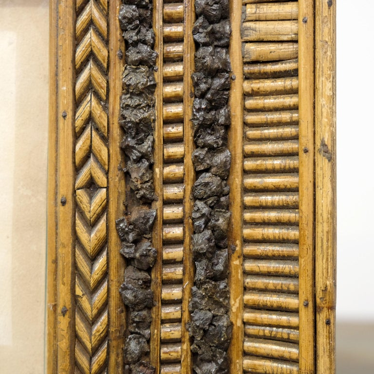 Folk Art Twig and Bark Applied Decorative Picture Frame, 19th Century In Distressed Condition For Sale In Devon, GB
