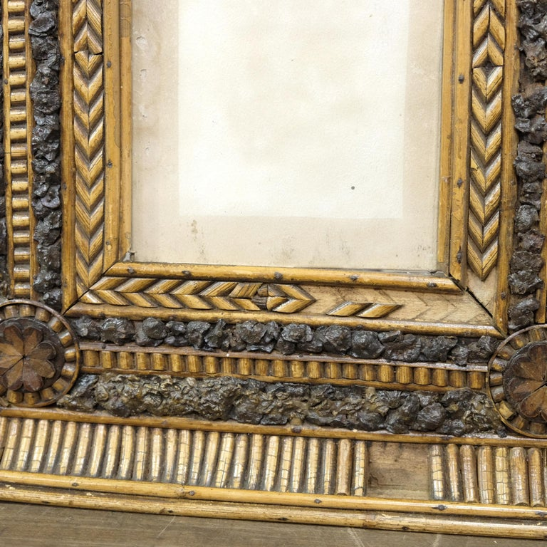 Folk Art Twig and Bark Applied Decorative Picture Frame, 19th Century For Sale 1