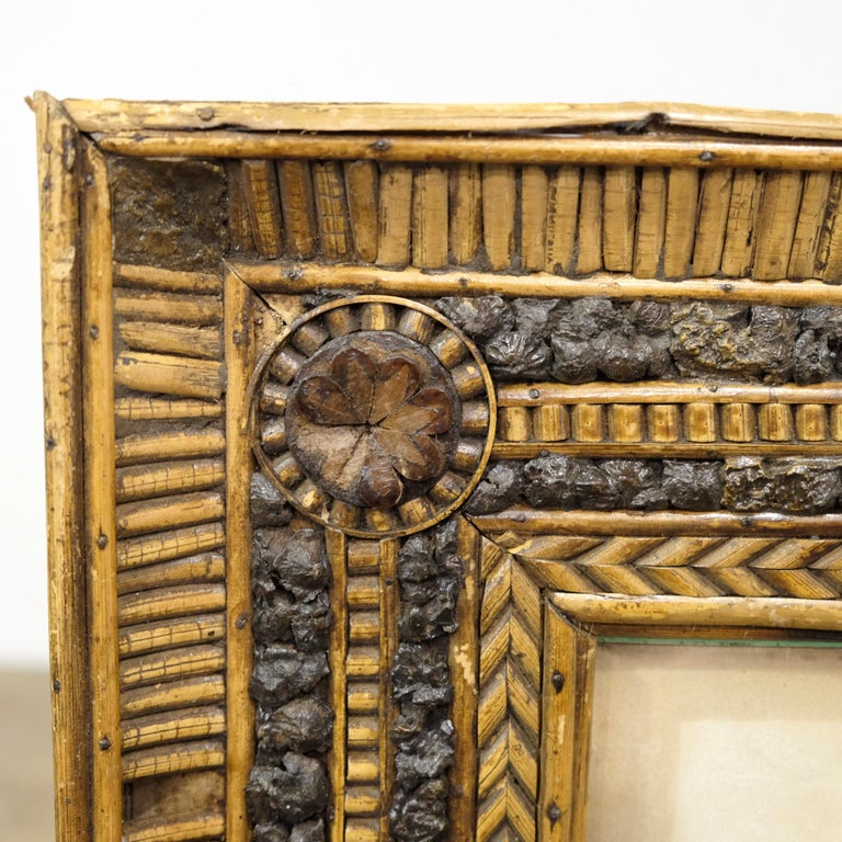 Folk Art Twig and Bark Applied Decorative Picture Frame, 19th Century For Sale 2