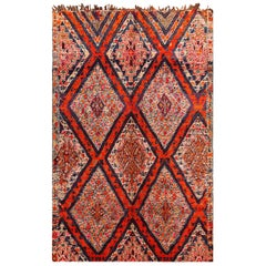 Folk Art Vintage Geometric Moroccan Rug