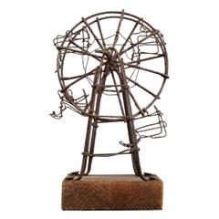 Folk Art Wirework Ferris Wheel, Original Patina, Early 20th Century