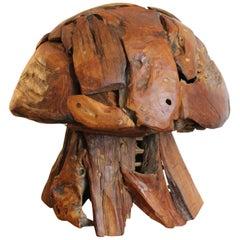 Folk Art Wood Mushroom Sculpture