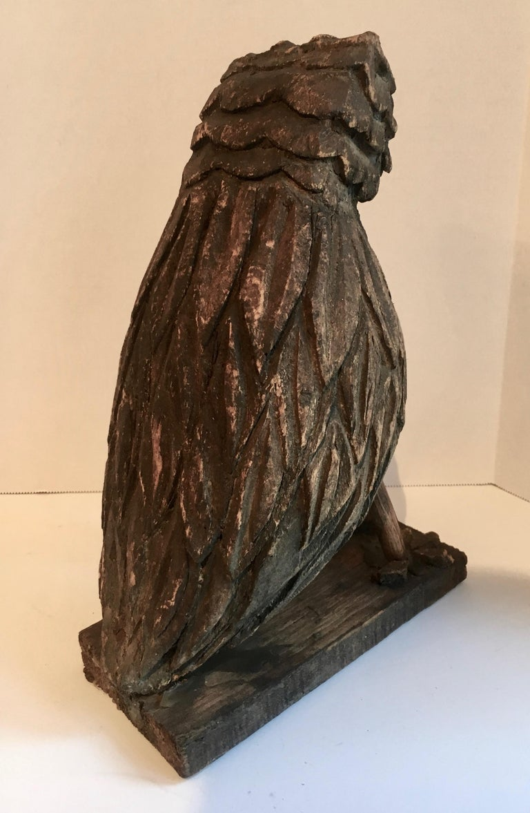 Folk Art Wooden Carved Owl In Good Condition For Sale In Los Angeles, CA