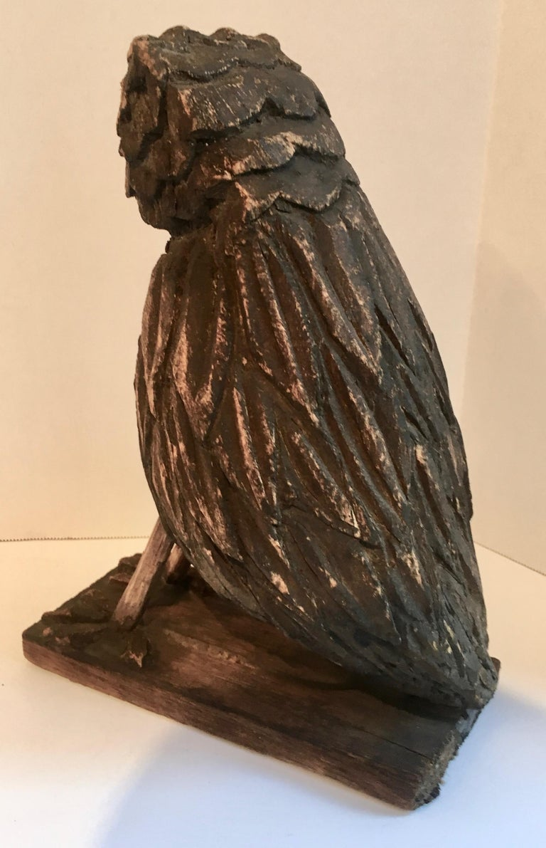 20th Century Folk Art Wooden Carved Owl For Sale