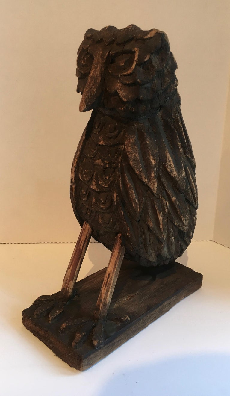 Folk Art Wooden Carved Owl For Sale 1