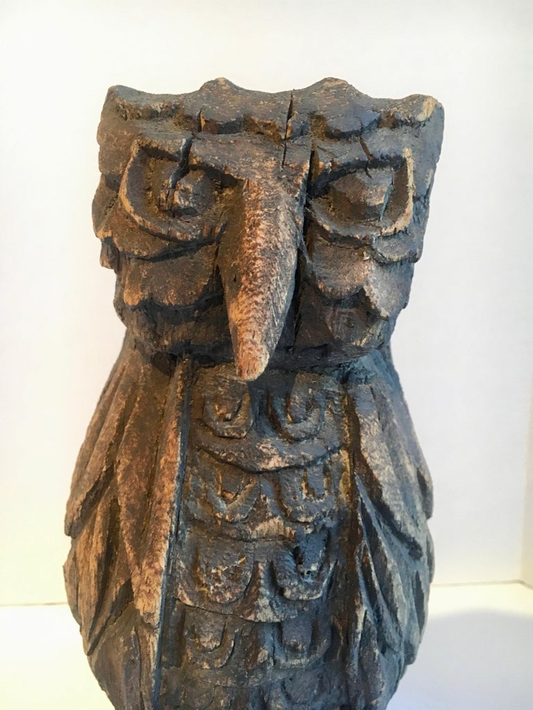 Folk Art Wooden Carved Owl For Sale 2