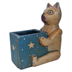 Folk Art Wooden Cat Desk Pencil Cup / Holder Box