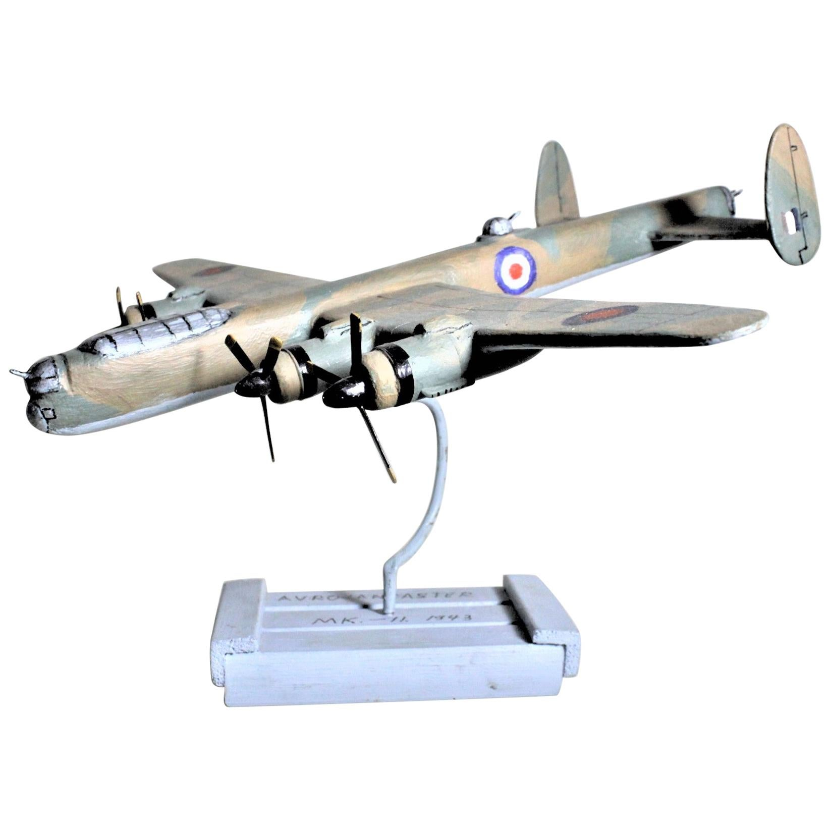 Folk Art Wooden Hand Carved and Painted WW2 Lancaster Bomber Model Airplane